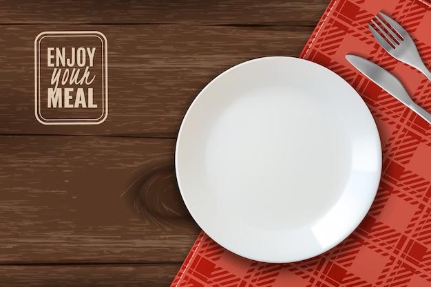 Realistic plate horizontal illustration