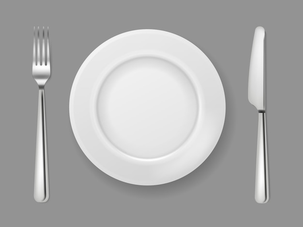 Realistic plate knife fork. silver cutlery white food empty plate metal fork and knife on dinner table top view isolated