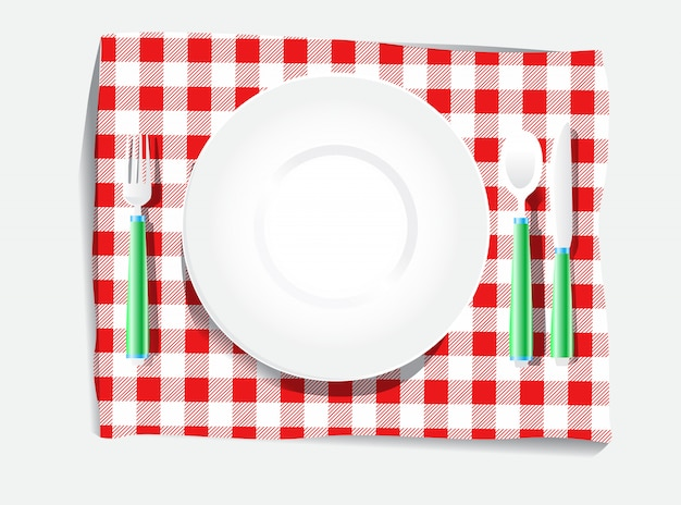 Realistic plate setting white red checkered picnic clothes tablecloth spoon knife and fork illustration