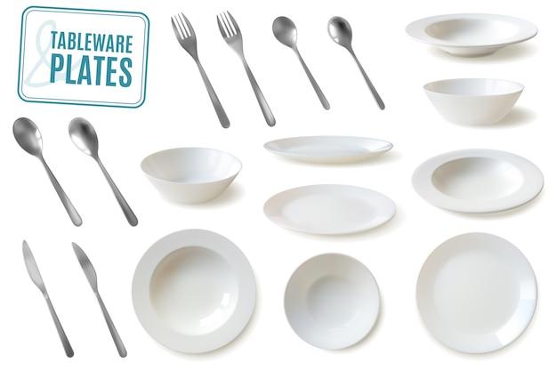 Реалистичные тарелки и набор посуды