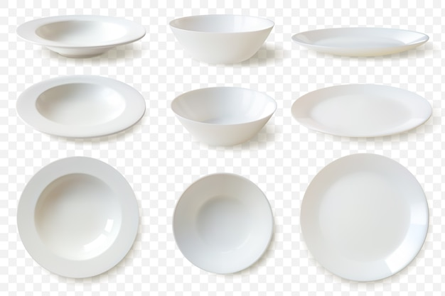 Realistic plates set illustration