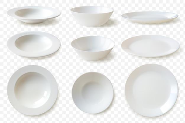Реалистичные тарелки набор иллюстраций