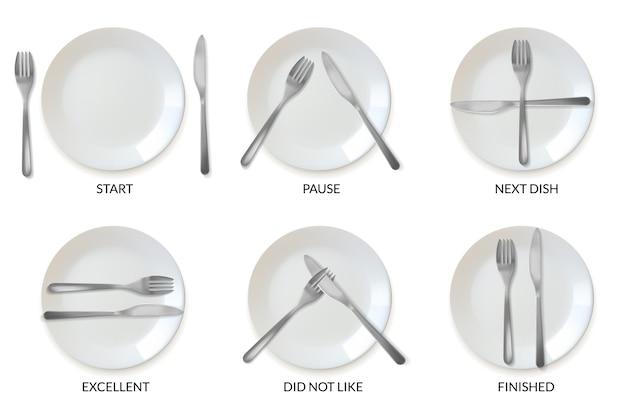 Реалистичные тарелки посуда ресторанный этикет