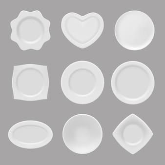 Реалистичные тарелки. векторные иллюстрации реалистичной посуды