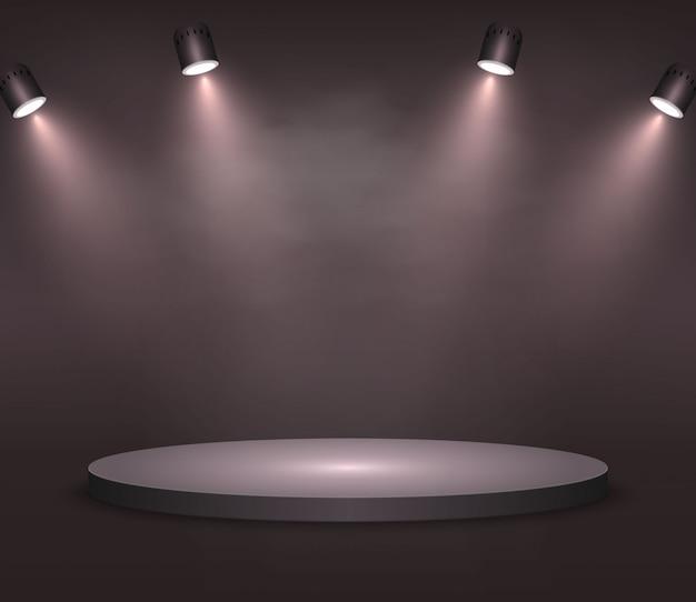 Realistic platform, podium or pedestal  on black background