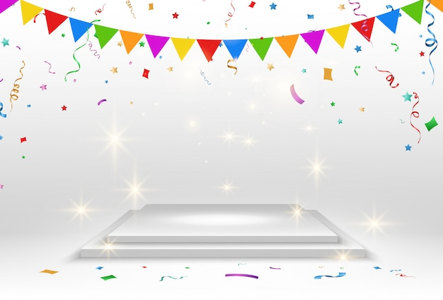 Realistic platform on a transparent background with confetti