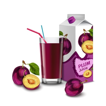 Realistic plum juice glass with cocktail straw and paper pack isolated on white background