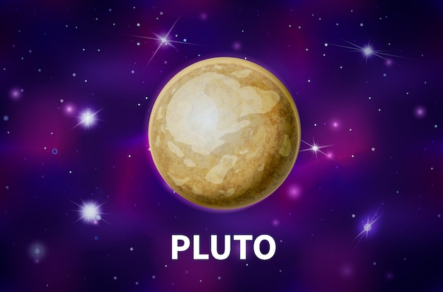 Realistic pluto planet on colorful deep space background with bright stars and constellations