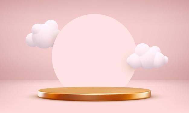 リアルな表彰台と雲。最小限のバレンタインの背景。ピンクのパステル表彰台のレンダリング。ベクトルイラスト