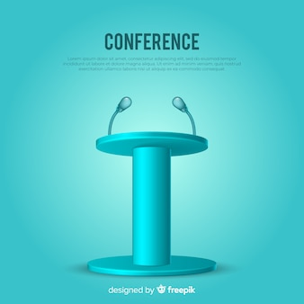 Realistic podium for conference blue background