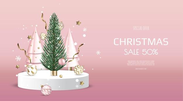 冬とクリスマスのデザイン、販売のための現実的な表彰台。グリーティングカード、バナー、ポスター、ウェブサイトのヘッダー。