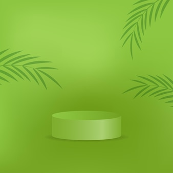 Realistic podium on the natural green background