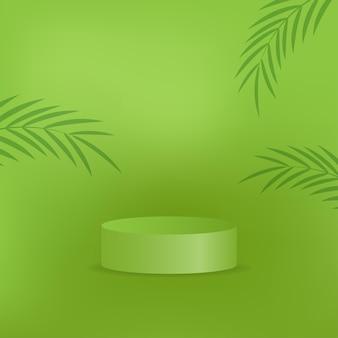 自然な緑の背景にリアルな表彰台