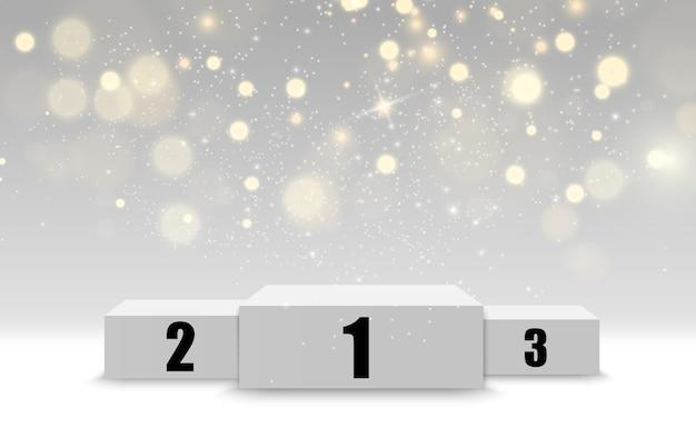 現実的な表彰台または勝者のプラットフォーム。白い背景に紙吹雪と台座。