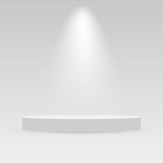 Realistic podium and spotlight