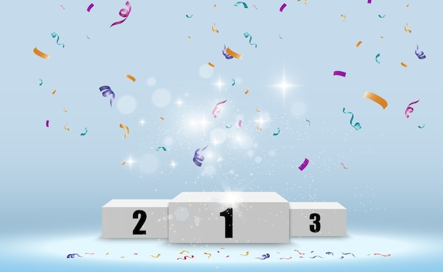 Realistic podium or winners platform. pedestal with confetti on a white background.