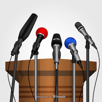 Realistic podium with microphones for conference