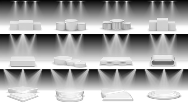 Realistic podiums set collection, realism style drawn round and square empty stages and stairs platforms and blocks. pedestals cylinder stages for winners.
