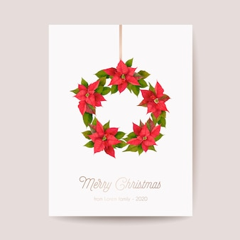 Realistic poinsettia 3d flowers winter card, merry christmas vector greetings. new year holiday party invitation. floral banner template, illustration frame, brochure, cover, wedding postcard