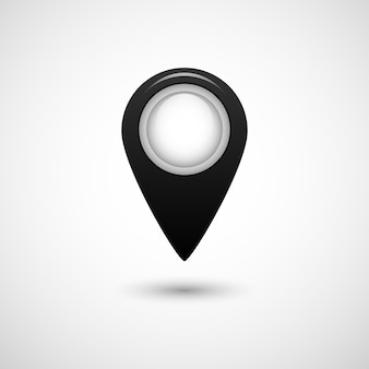 Realistic pointer icon for map black color on grey background isolated