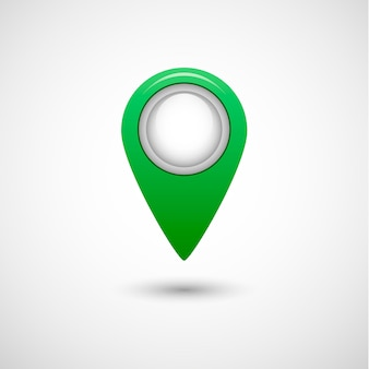 Realistic pointer icon for map, green color