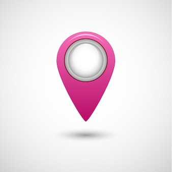 Realistic pointer icon for map pink color on grey background. stock illustration