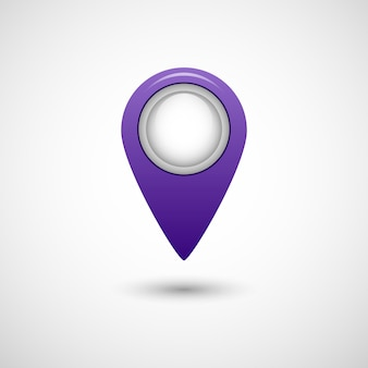 Realistic pointer icon for map purple color on grey background isolated