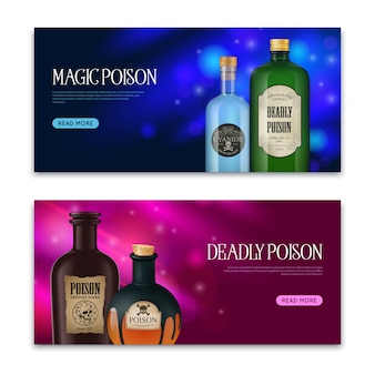 Realistic poison set of two horizontal banners with vintage looking magic bottles and flasks with text vector illustration