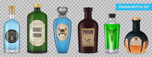 Realistic poison transparent set with isolated images of magic bottle vessels with labels on transparent surface illustration