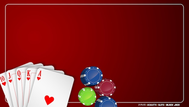Realistic poker card and chips illustration