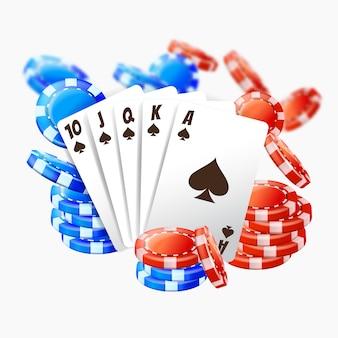 카지노에서 플레이하기위한 현실적인 포커 카드 및 더미