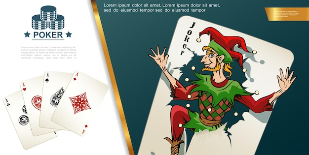 Realistic poker colorful composition with joker aces of spades hearts clubs and diamonds playing cards