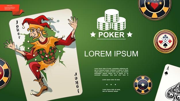 Реалистичный шаблон покера с джокером и тузом пик игральных карт и фишек на зеленом фоне стола казино