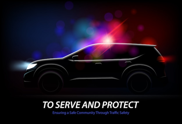 Realistic police car lights with profile view of moving automobile with glowing lights and editable text vector illustration