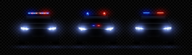 Realistic police headlights. car glowing led light effect, rare and front siren flare, red nda blue police light