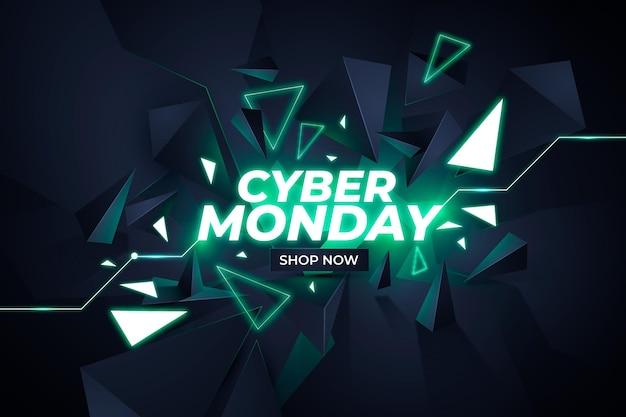 Realistic polygonal cyber monday background