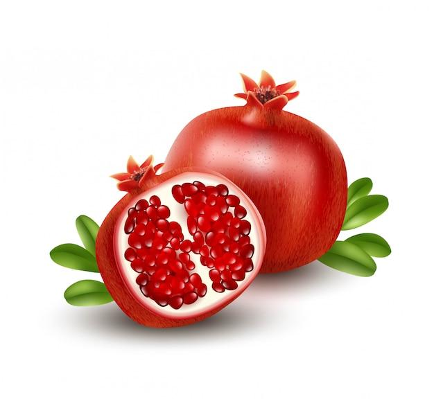 Realistic pomegranate or garnet on the white background.  illustration