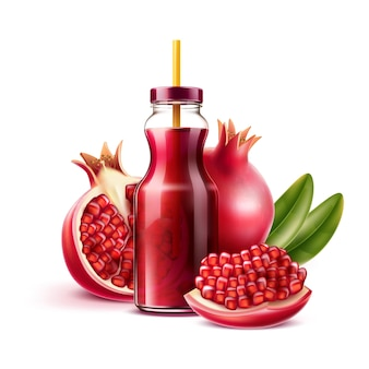 Realistic pomegranate juice bottle with straw and whole fruit , half and seeds with green leaves. vector juicy ripe fruit for product package, menu design. sweet tropical food full of vitamins.