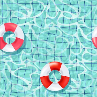 Realistic pool and life buoy seamless pattern