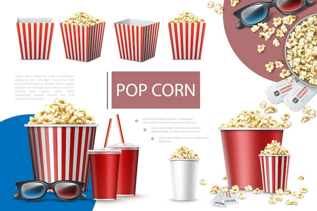 Realistic popcorn elements composition with paper bags and buckets of popcorn soda cups cinema tickets and 3d glasses