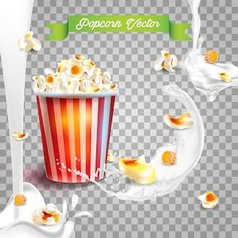 Realistic popcorn in milk splashes.