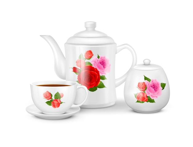 Realistic porcelain tea or coffee set with white cup saucer teapot