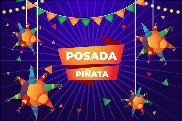 Realistic posada pinata and banner