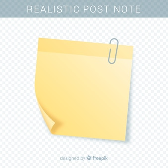 Realistic post note on transparent background