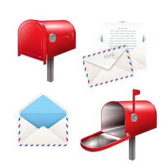 Реалистичный набор почтовых элементов