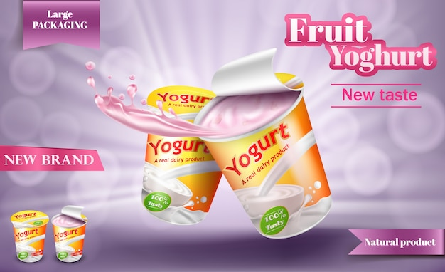 Realistic poster for advertising yogurt