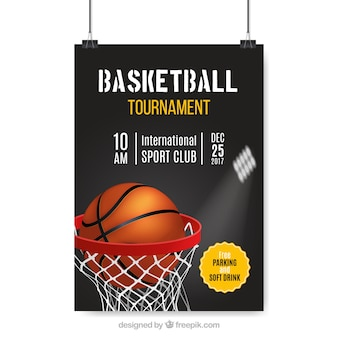 Realistic poster of basketball tournament
