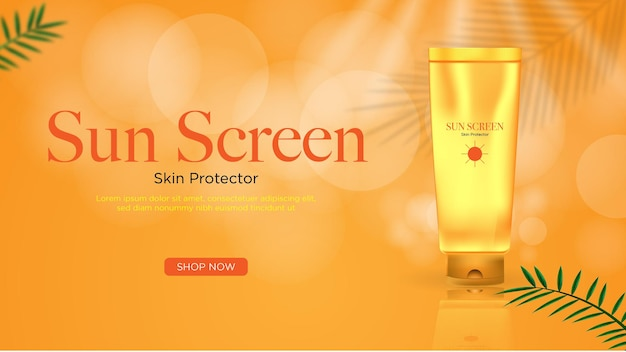 Realistic poster for sun screen