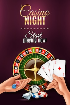 Realistic poster with casino gambling hand games
