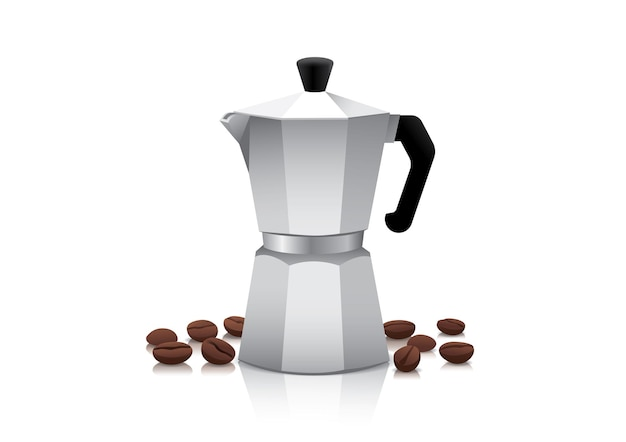 Realistic pot or coffee maker with roasted coffee beans.
